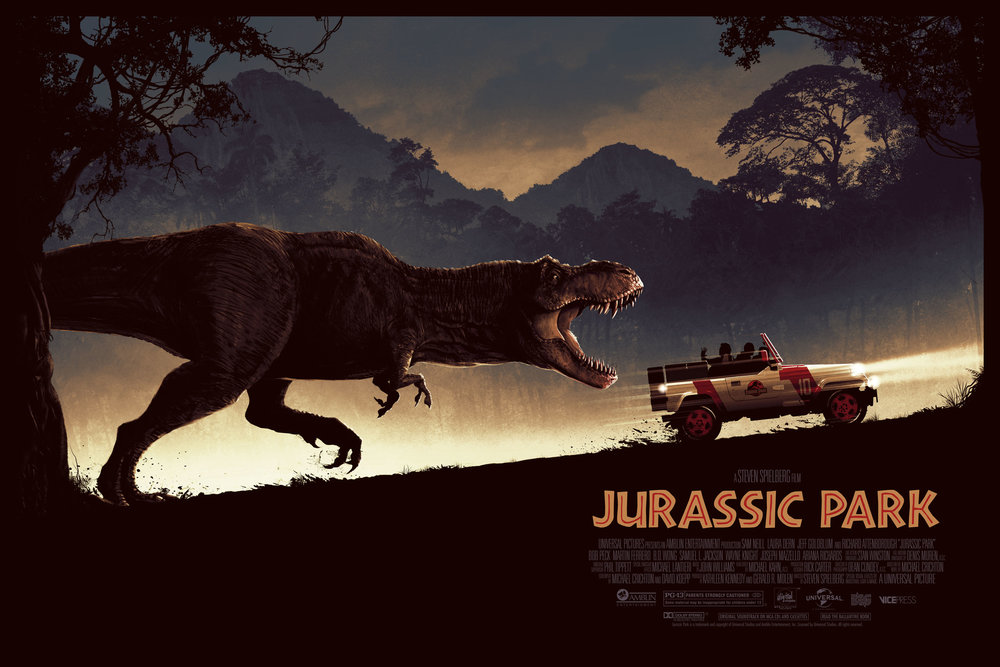 "Matt Ferguson ""Jurassic Park"" screen print, 36 x 24 inches, numbered edition of 250, co-Released with Vice Press, available for $50"