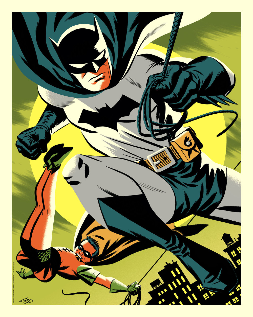 "Michael Cho ""Batman & Robin"" Bottleneck variant lithograph, 16 x 20 inches, numbered edition of 80, available for $30"
