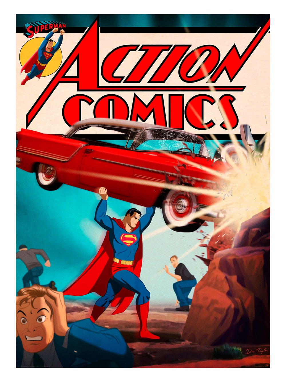 "Des Taylor ""Action Comics #1"" giclee, 18 x 24 inches, numbered edition of 100, available for $45"