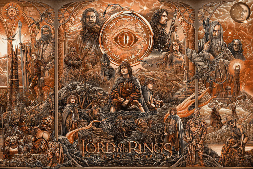 "Ise Ananphada ""Lord of the Rings: The Two Towers"" variant 10 color screen print w/ metallic inks, 36 x 24 inches, numbered edition of 125, available for $85"